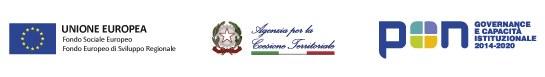 Loghi: Unione europea, Agenzia per la Coesione Territoriale, Programma Operativo Nazionale Governance e Capacità Istituzionale 2014-2020